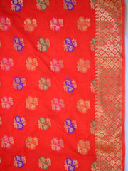 Art Silk Dupatta With Meena Work Flower Motif Design-Red