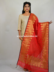 Banarasee Chanderi Cotton Dupatta-Red