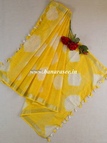 Bhagalpur Linen Cotton Shibori-Dyed Dupatta-Yellow
