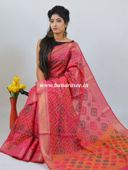Banarasee Handwoven Cotton Silk Patola Design Saree With Zari Border-Magenta