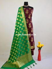Banarasee Salwar Kameez Semi Katan Silk Zari &Meena  Buta Fabric With Contrast Dupatta-Brown