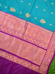 Banarasee Handloom Pure Katan Silk Kadua Buti Saree With Skirt Border-Teal Green