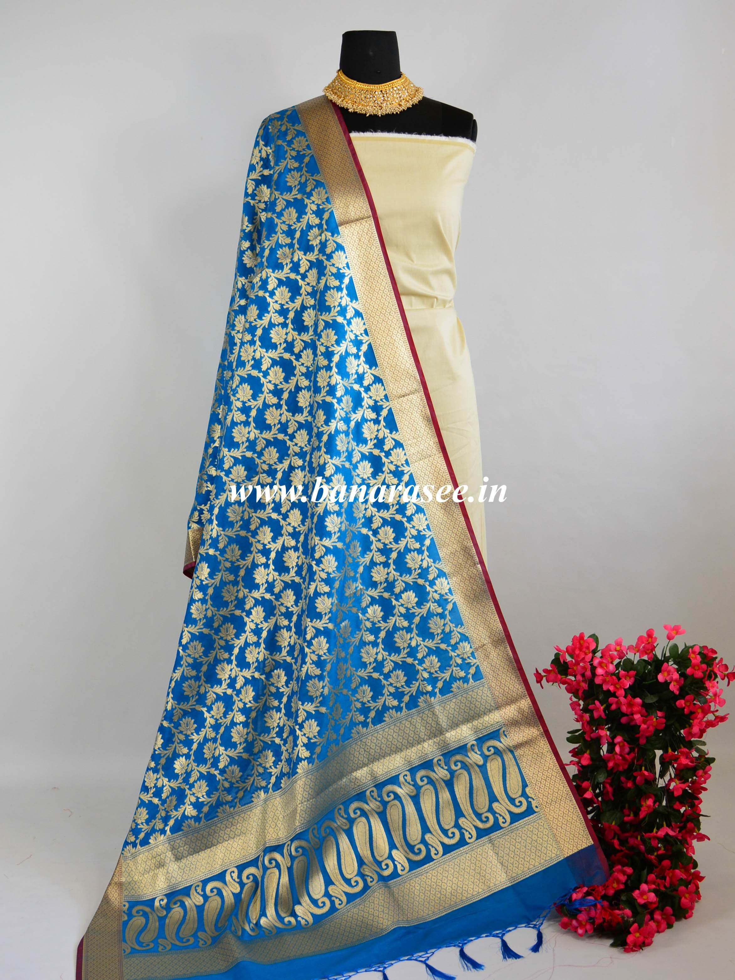 Banarasee Art Silk Dupatta With Gold Zari Jaal Design-Cobalt Blue
