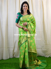 Banarasee Art Silk Saree With Buta Design-Green