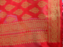 Banarasee Art Silk Dupatta With Drop Motif Design-Red