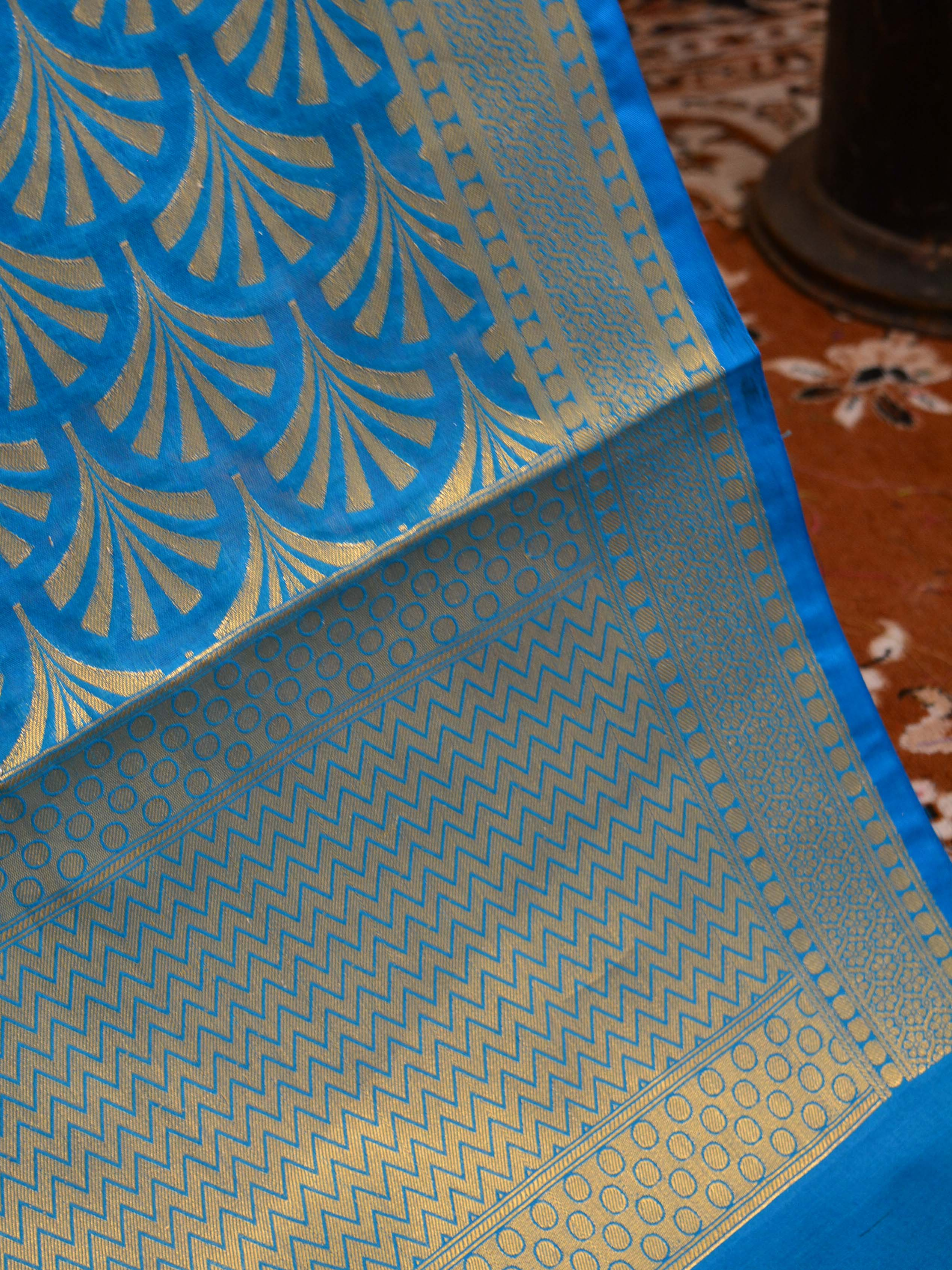 Banarasee Art Silk Dupatta With Zari Pattern Design-Turquoise Blue