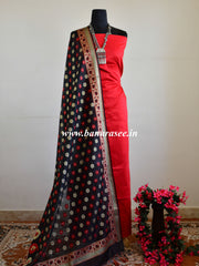 Banarasee Salwar Kameez Cotton Silk Fabric With Contrast Black Meena Dupatta-Red