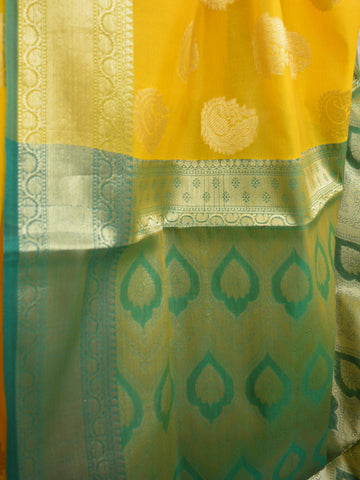 Banarasee Art Silk Saree With Buta Design-Yellow