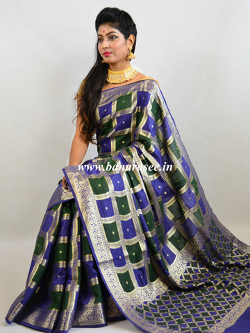 Banarasee Handloom Cotton Silk Hand-Painted Checks Design Saree-Green & Blue