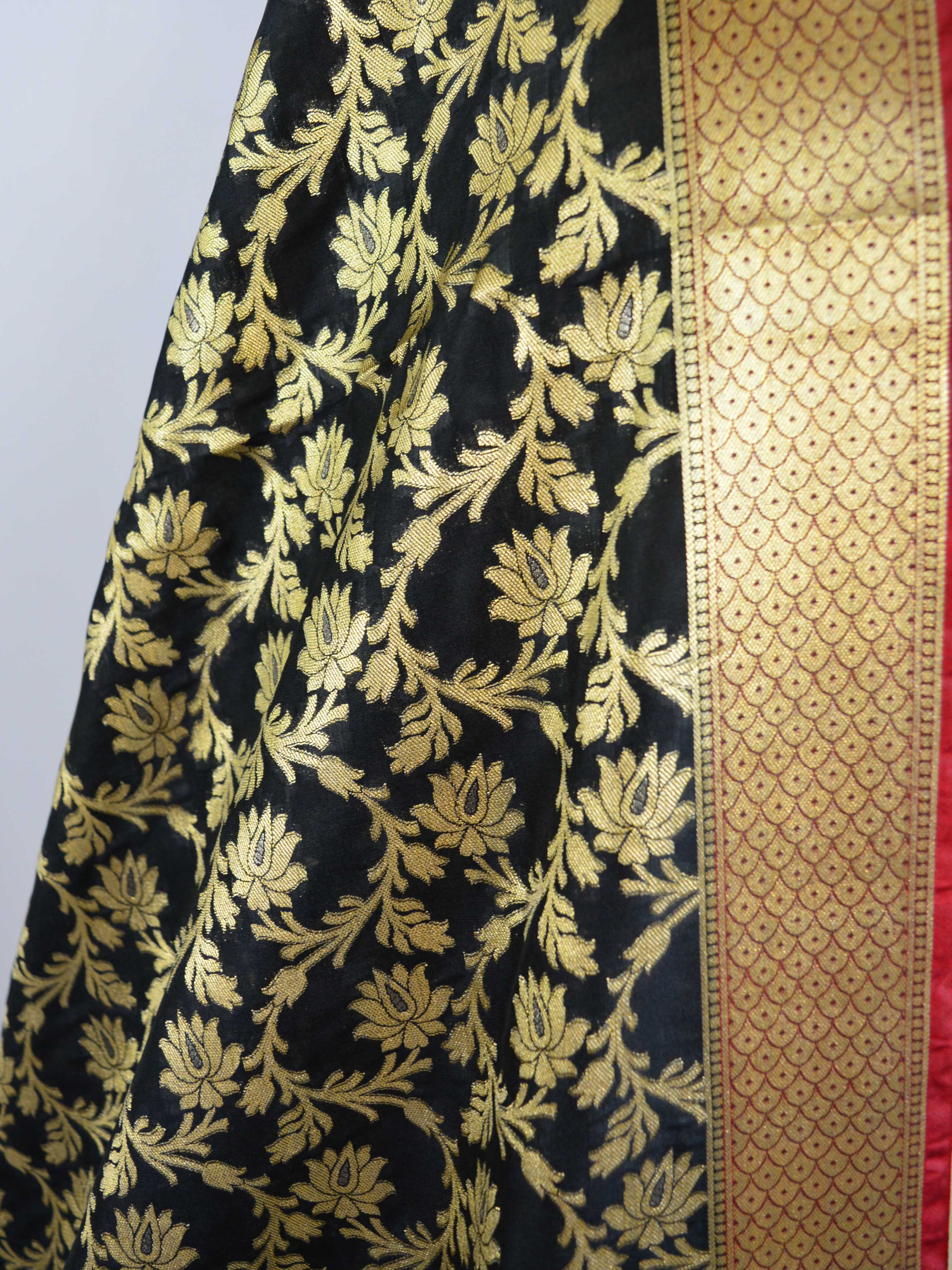 Banarasee Art Silk Dupatta With Gold Zari Jaal Design-Black