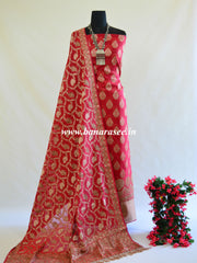 Banarasee Salwar Kameez Cotton Silk Resham Buti Woven Fabric-Red