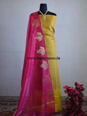 Banarasee Salwar Kameez Cotton Silk Antique Zari Fabric With Contrast Lotus Dupatta-Yellow