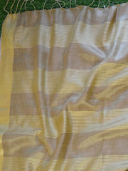 Banarasee Handloom Pure Linen By Tissue Saree With Green Brocade Blouse-Gold
