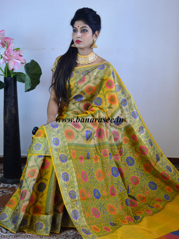 Banarasee Handloom Cotton Saree With Multicolor Floral Resham Jaal-Yellow