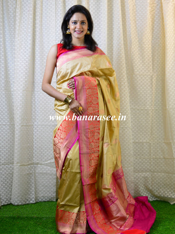 Banarasee Handloom Pure Katan Silk Kadua Buti Saree With Skirt Border-Gold