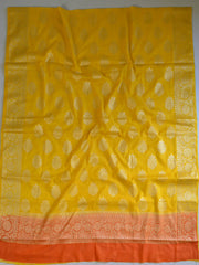Banarasee Cotton Silk Zari Woven Salwar Kameez Dupatta Set-Yellow With Orange