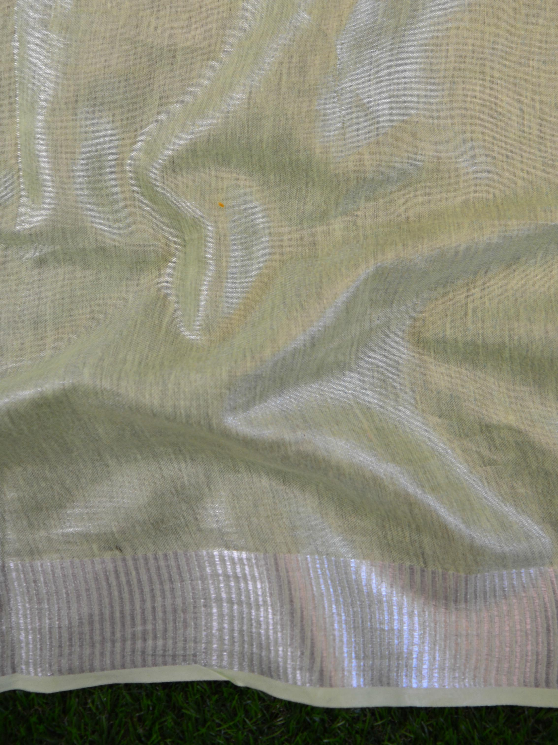 Banarasee Handloom Pure Linen By Tissue Embroidered Saree-Green(Silver Tone)