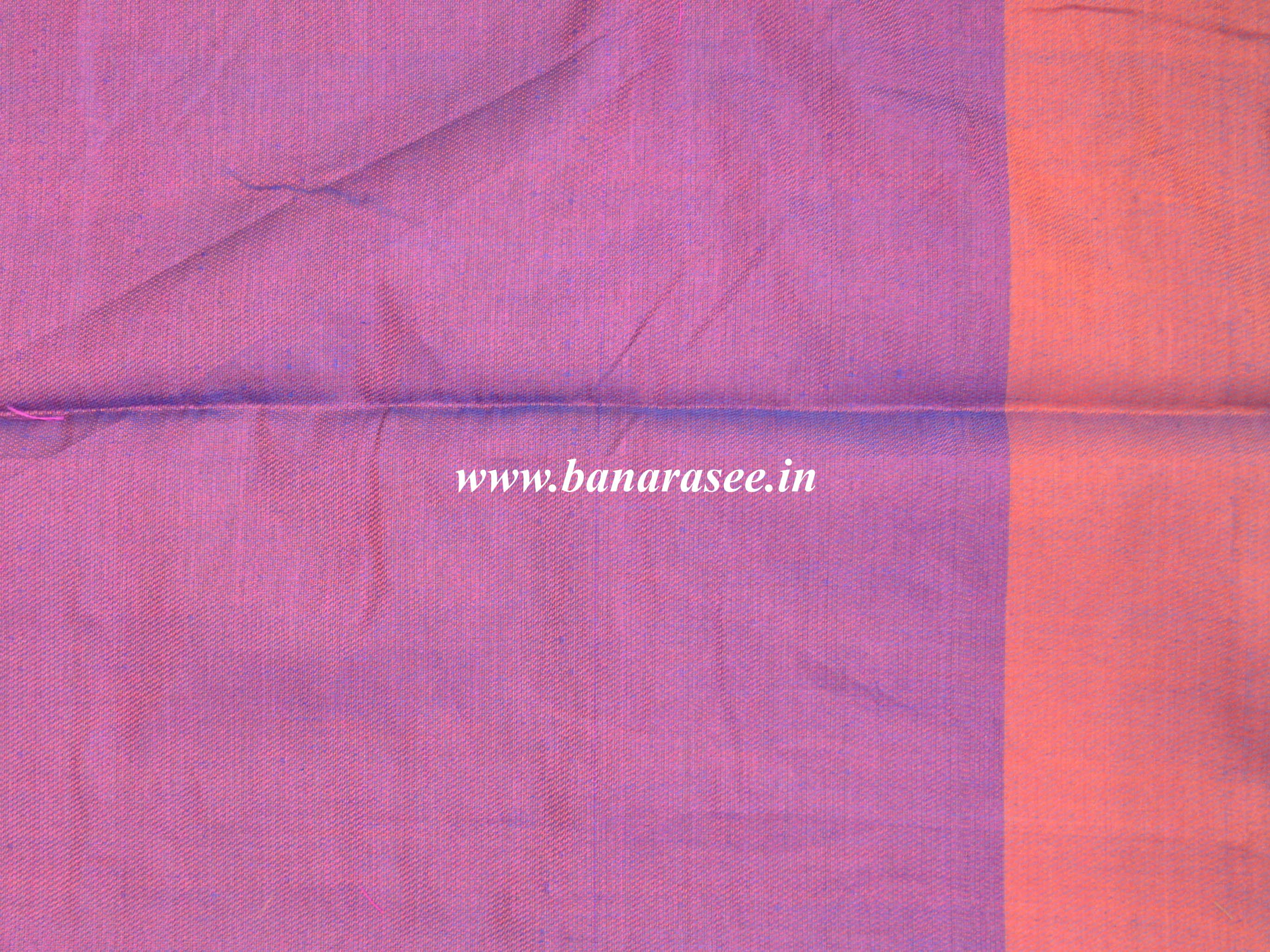 Banarasee Handloom Cotton Silk Saree With Checks & Ganga Jamuna Border-Blue