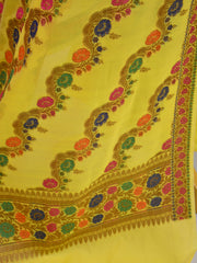 Banarasee Semi Silk Salwar Kameez Dupatta Set Meena & Zari Design-Bright Yellow