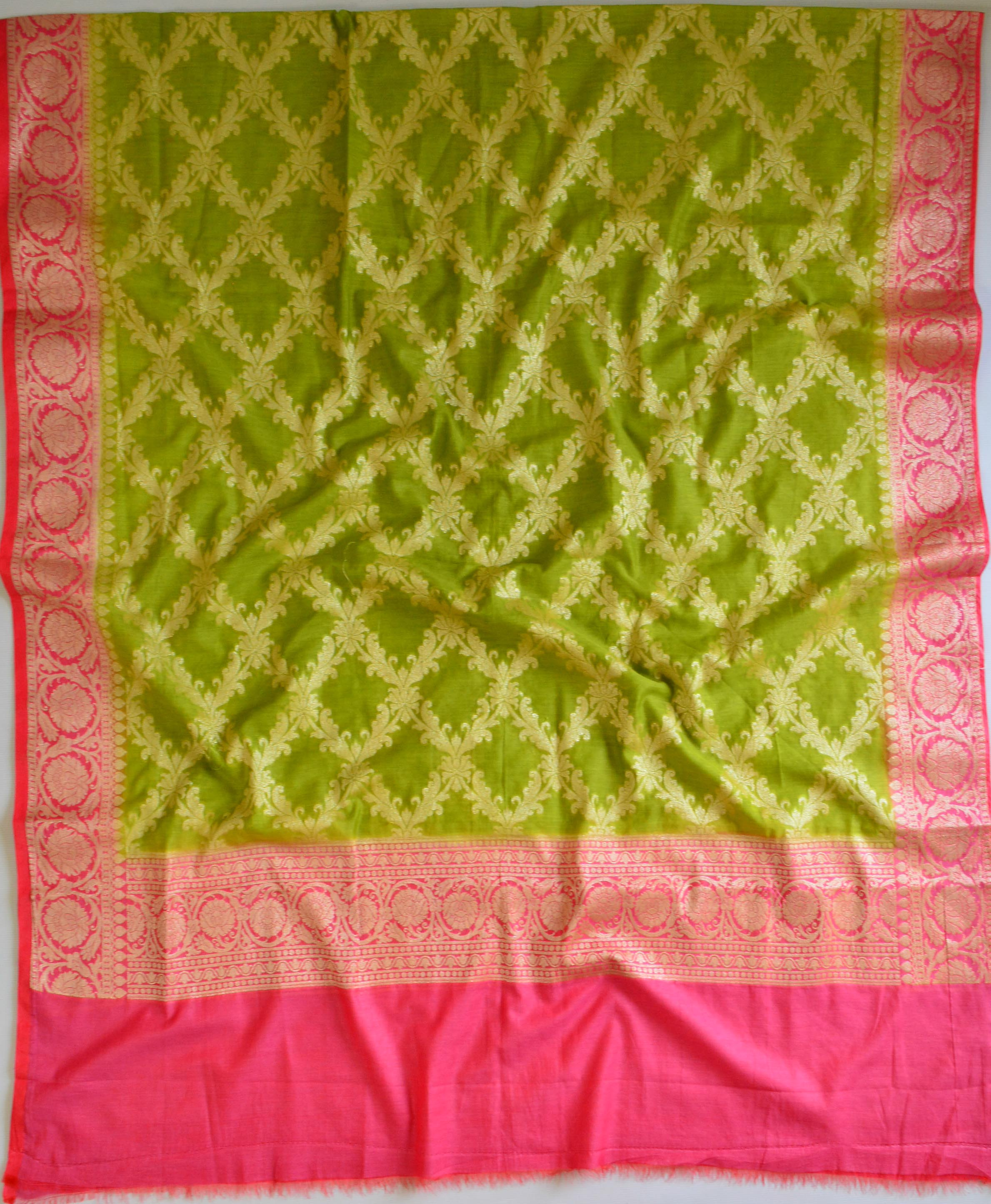 Banarasee Cotton Silk Zari Woven Salwar Kameez Dupatta Set-Green With Pink