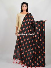 Banarasi Art Silk Dupatta Lotus Buti Design-Black