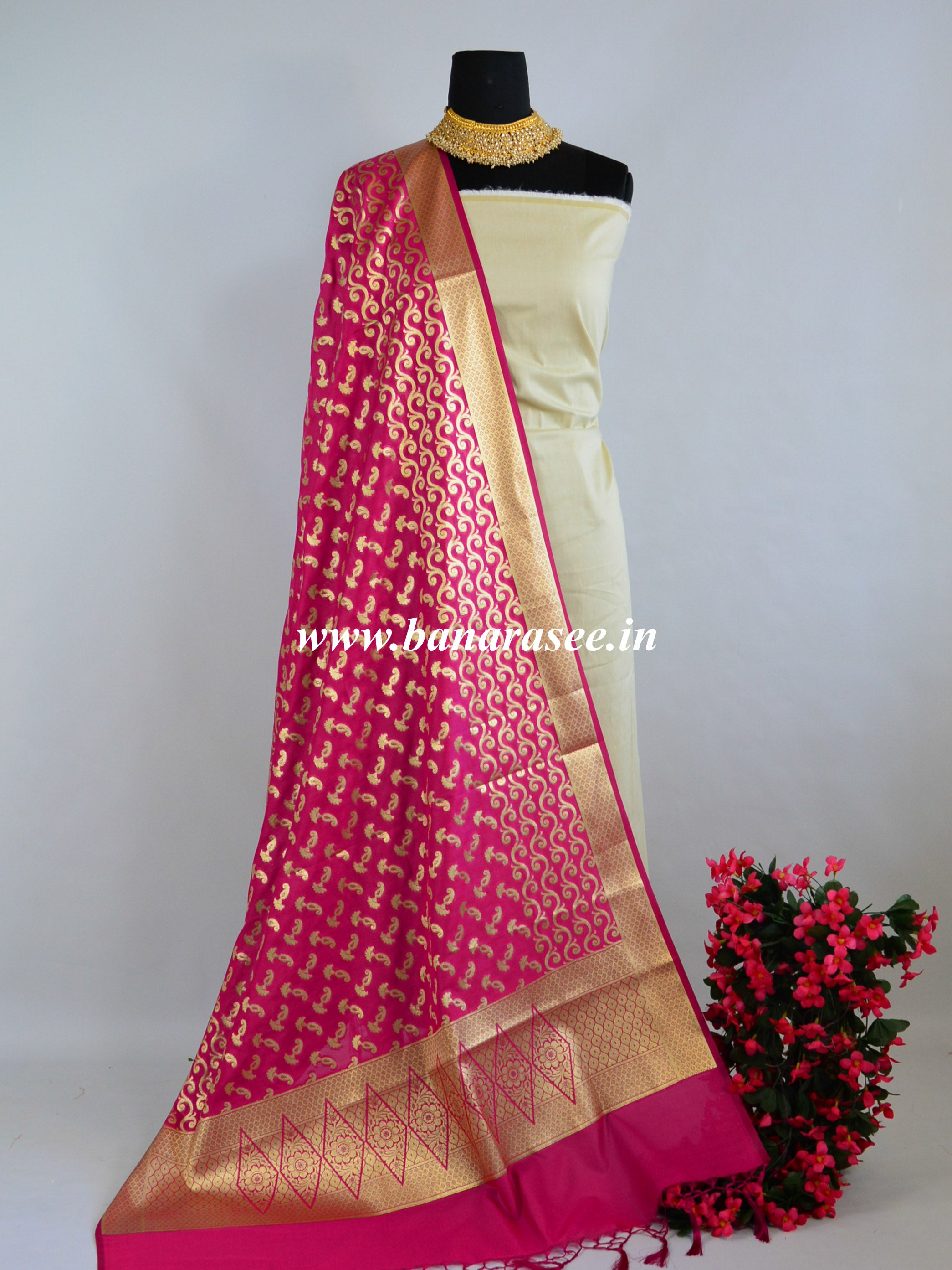 Banarasee Art Silk Dupatta With Gold Zari Buti & Wave Design-Hot Pink