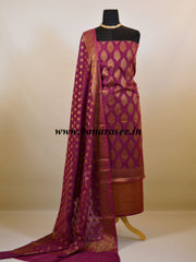 Banarasee Cotton Silk Antique Gold Buti Design Salwar Kameez Dupatta Fabric-Purple