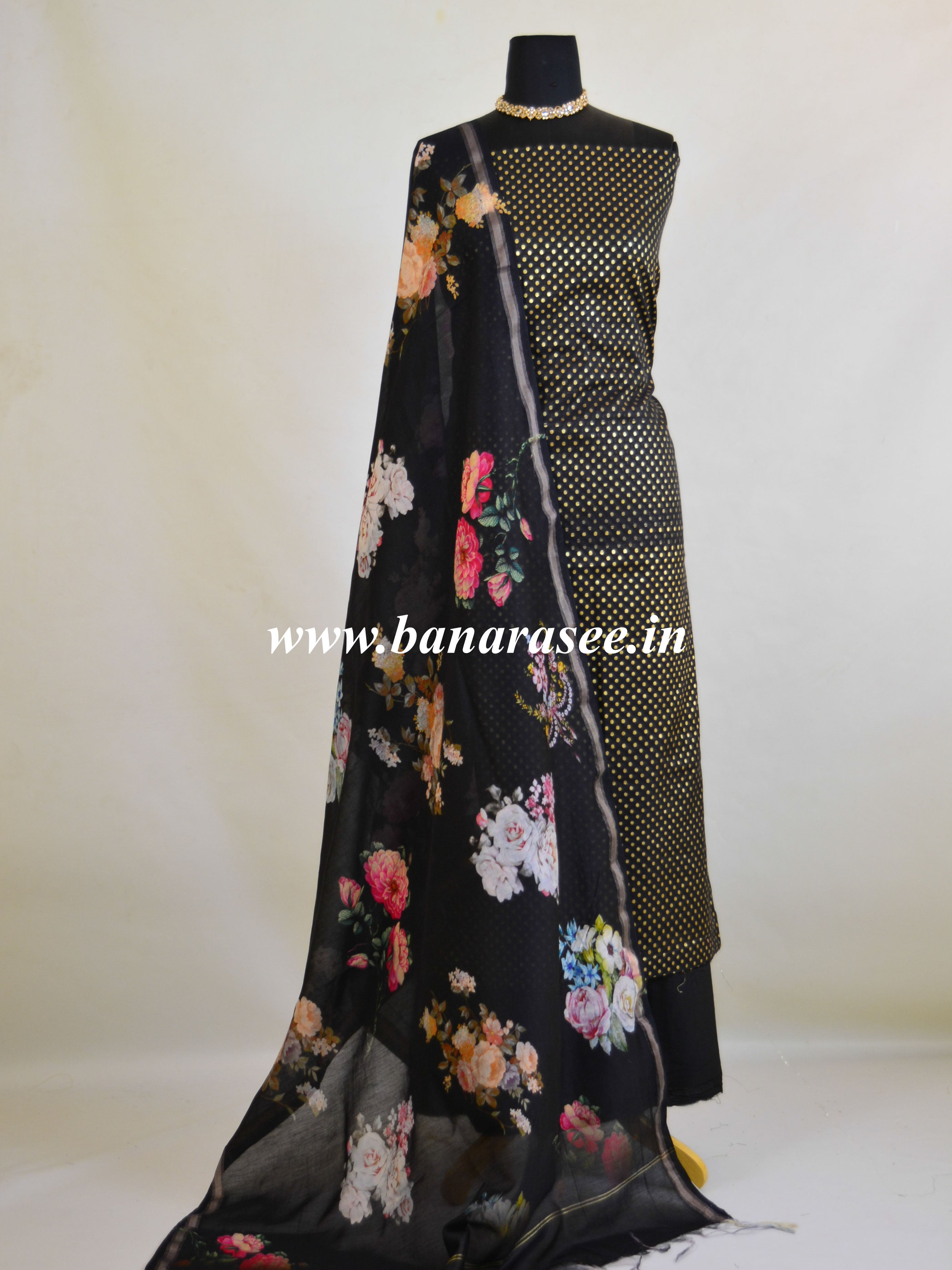 Banarasee Handloom Chanderi Cotton Polka Dot Salwar Kameez With Digital Print Dupatta-Black