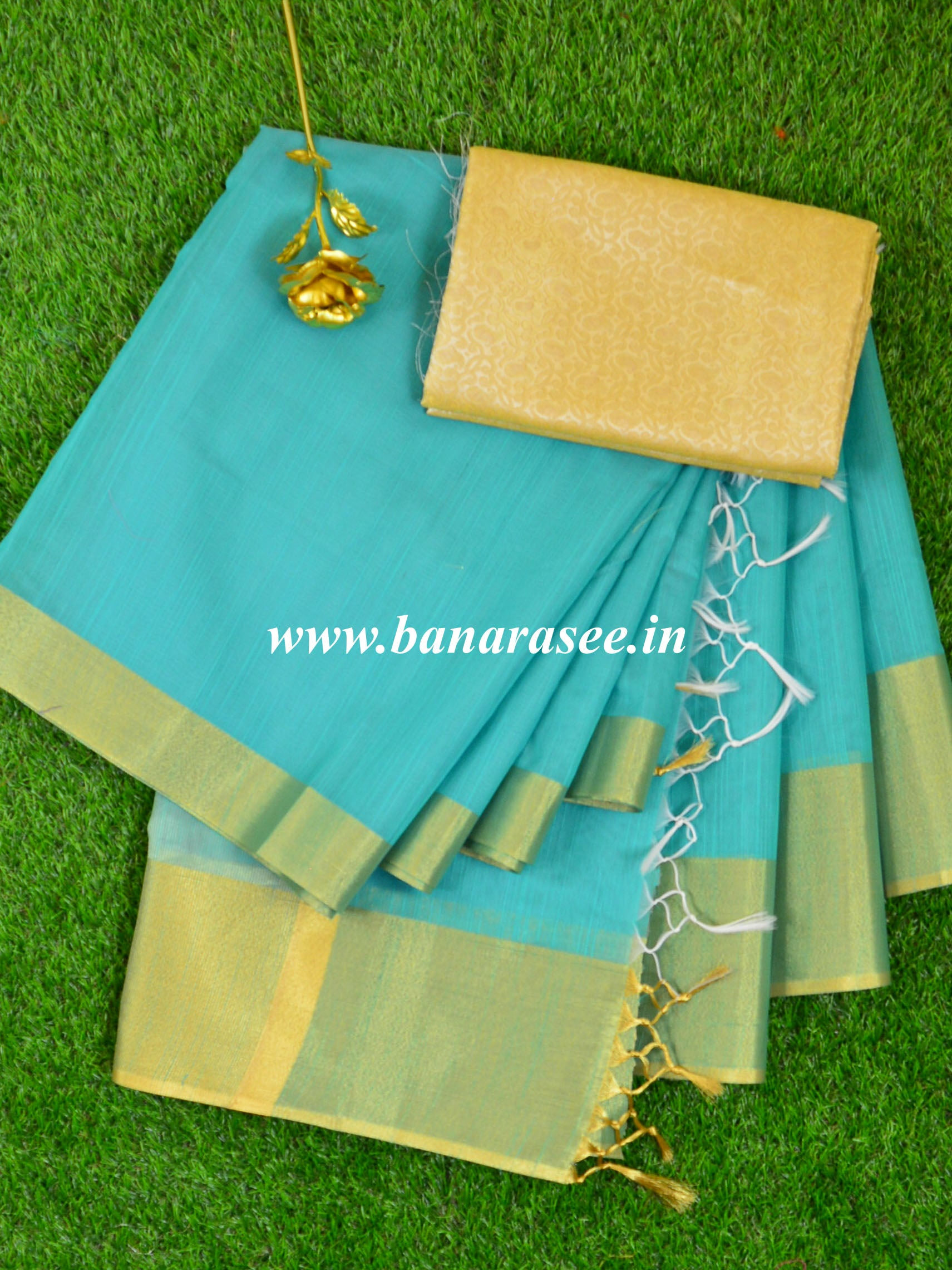 Banarasee Cotton Silk Saree With Zari Border With Gold Brocade Blouse-Green