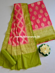 Banarasee Cotton Silk Zari Woven Salwar Kameez Dupatta Set-Pink With Green