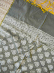Banarasee Cotton Silk Resham Work Dupatta-Grey