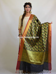 Banarasee Art Silk Dupatta With Zari Jaal & Pallu-Black