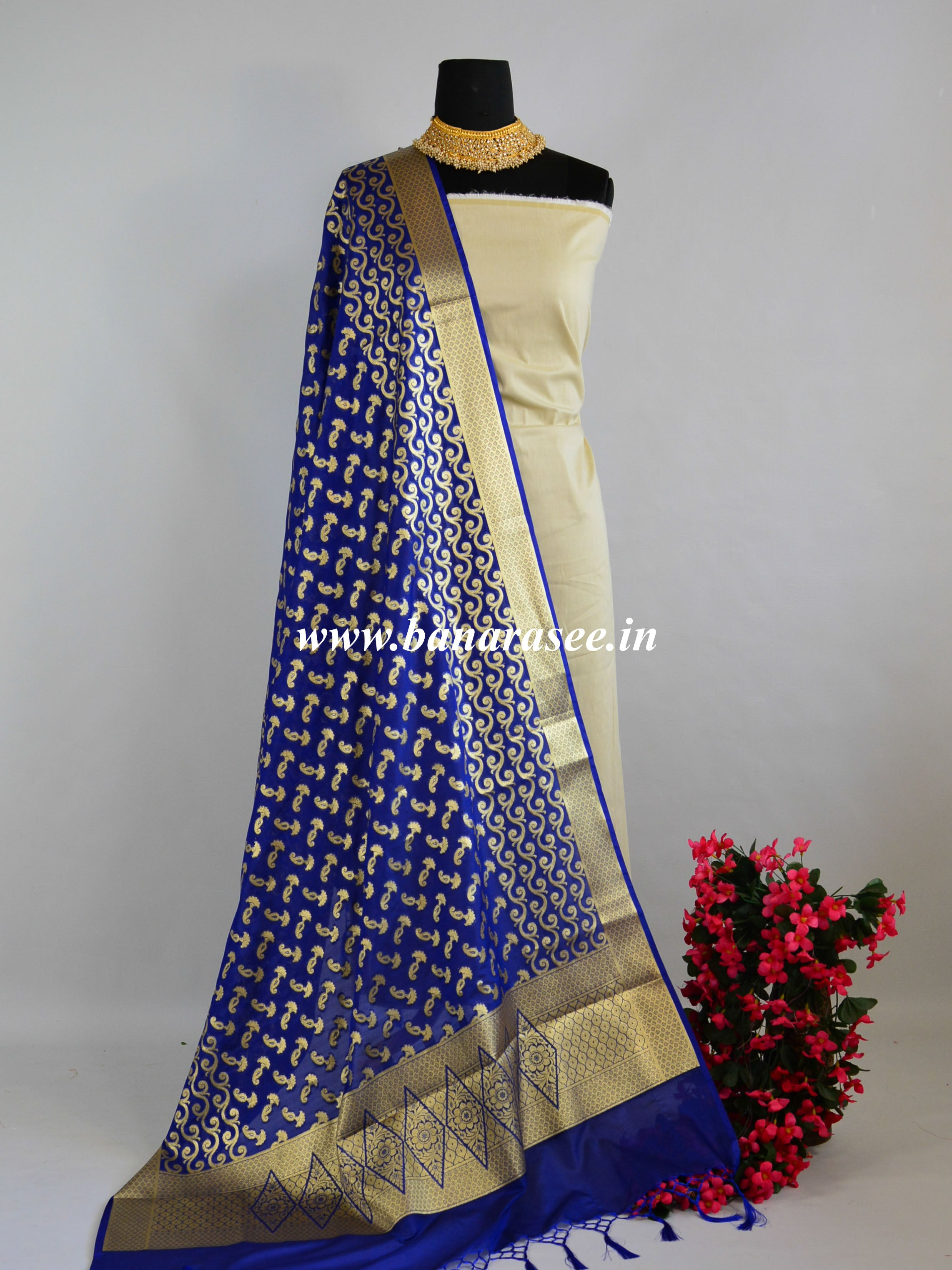 Banarasee Art Silk Dupatta With Gold Zari Buti & Wave Design-Deep Blue