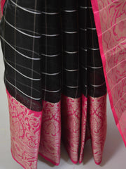 Banarasee Organza Mix Saree With Silver Zari & Pink Satin Border-Black