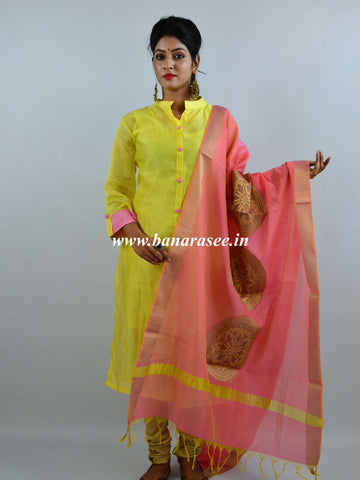 Banarasee Handloom Chanderi Kurta and Dupatta Set-Yellow With Pink