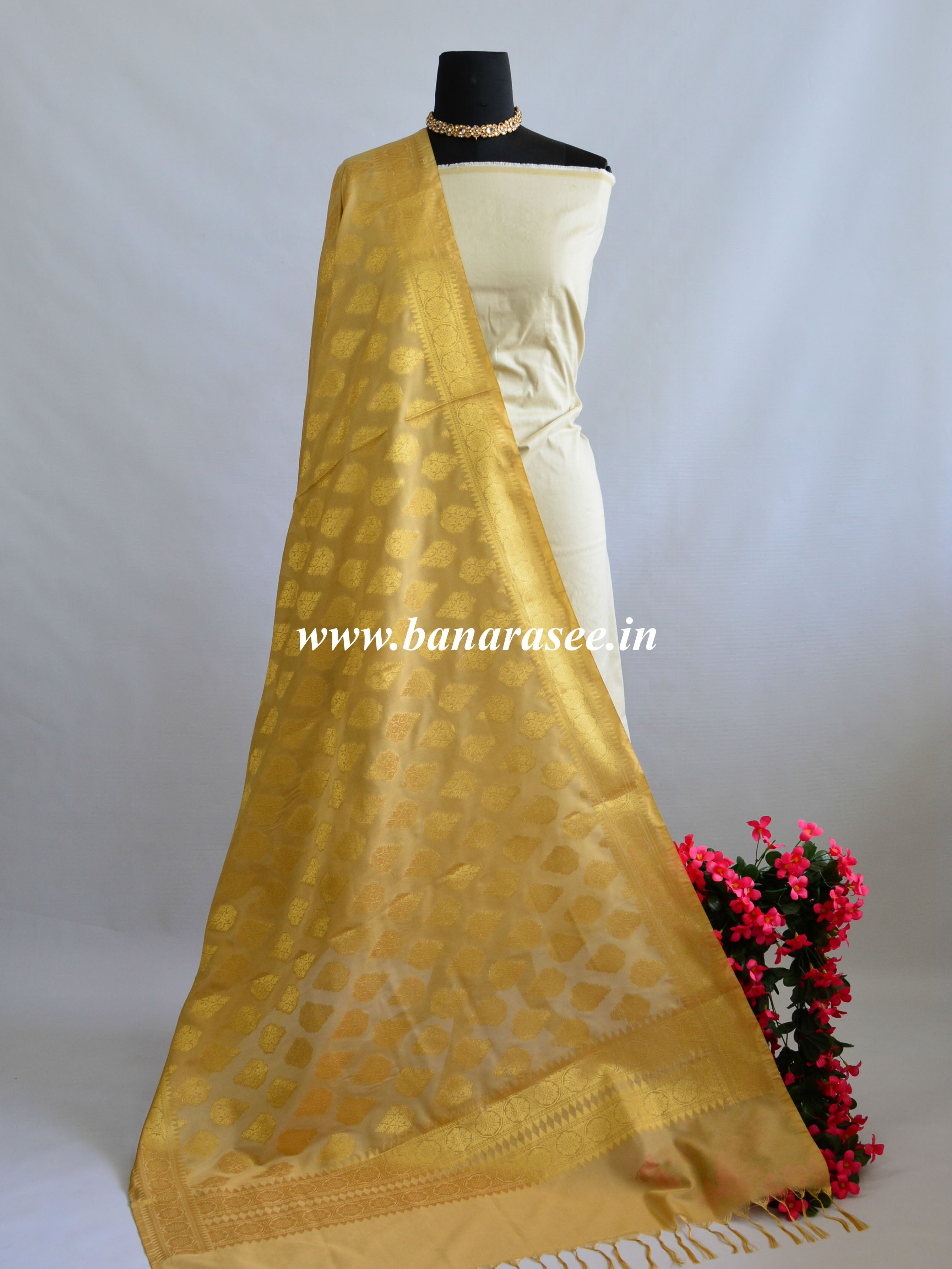 Banarasee Art Silk Dupatta With Drop Motif Design-Beige