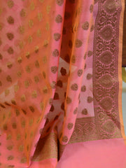 Banarasee Cotton Silk Antique Gold Buti Design Salwar Kameez Dupatta Fabric-Peach