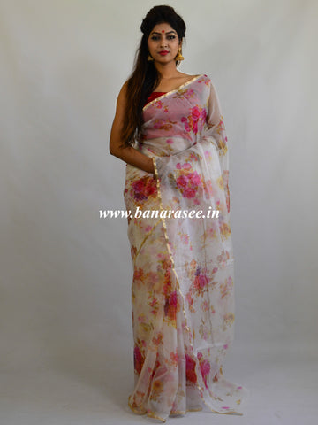 Banarasee Pure Organza Silk Saree With Digital Floral Print-Off White