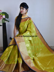 Banarasee Art Silk Saree With Zari Buta Border & Pallu-Pastel Green(Yellow Tone)
