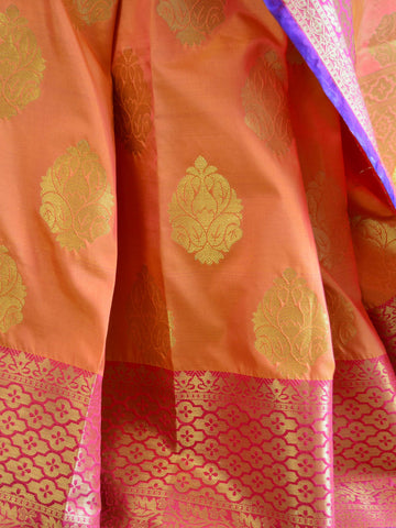 Banarasee Art Silk Saree With Zari Buta Border & Pallu-Peach(Dual Tone)