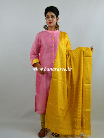 Banarasee Handloom Chanderi Kurta and Dupatta Set-Pink With Yellow