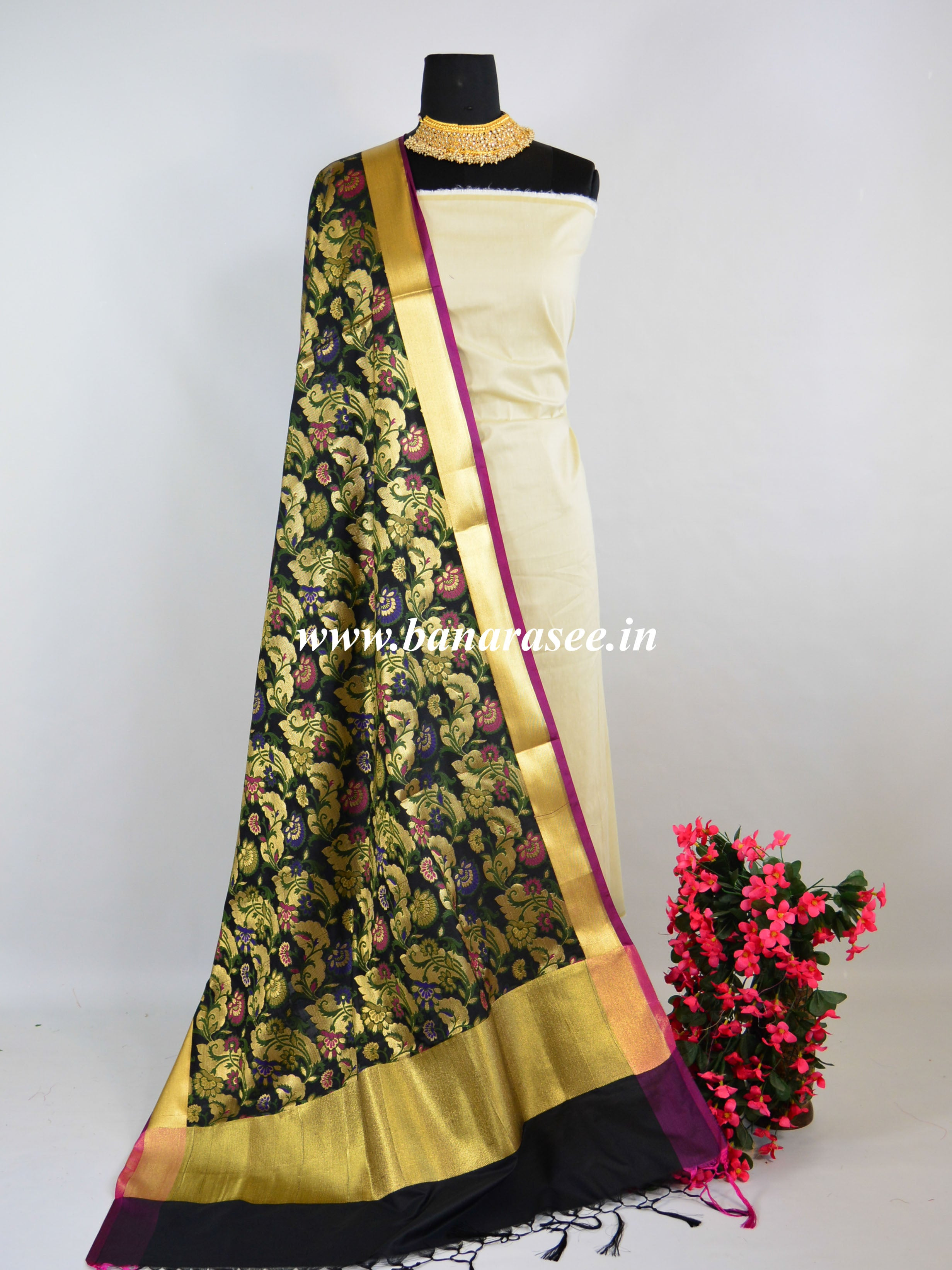 Banarasee Art Silk Dupatta With Meena Work Jaal Design-Black