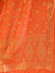 Banarasee Salwar Kameez Cotton Silk Gold Zari Buti Woven Fabric-Orange
