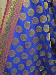Banarasee Art Silk Dupatta With Peacock Buta & Contrast Pallu-Royal Blue