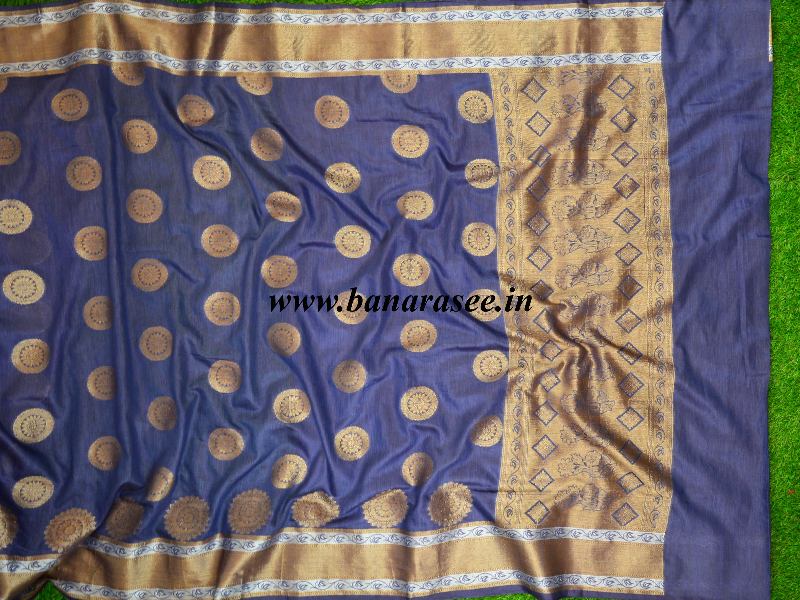 Banarasee Handloom Chanderi Buta Design Saree-Deep Blue