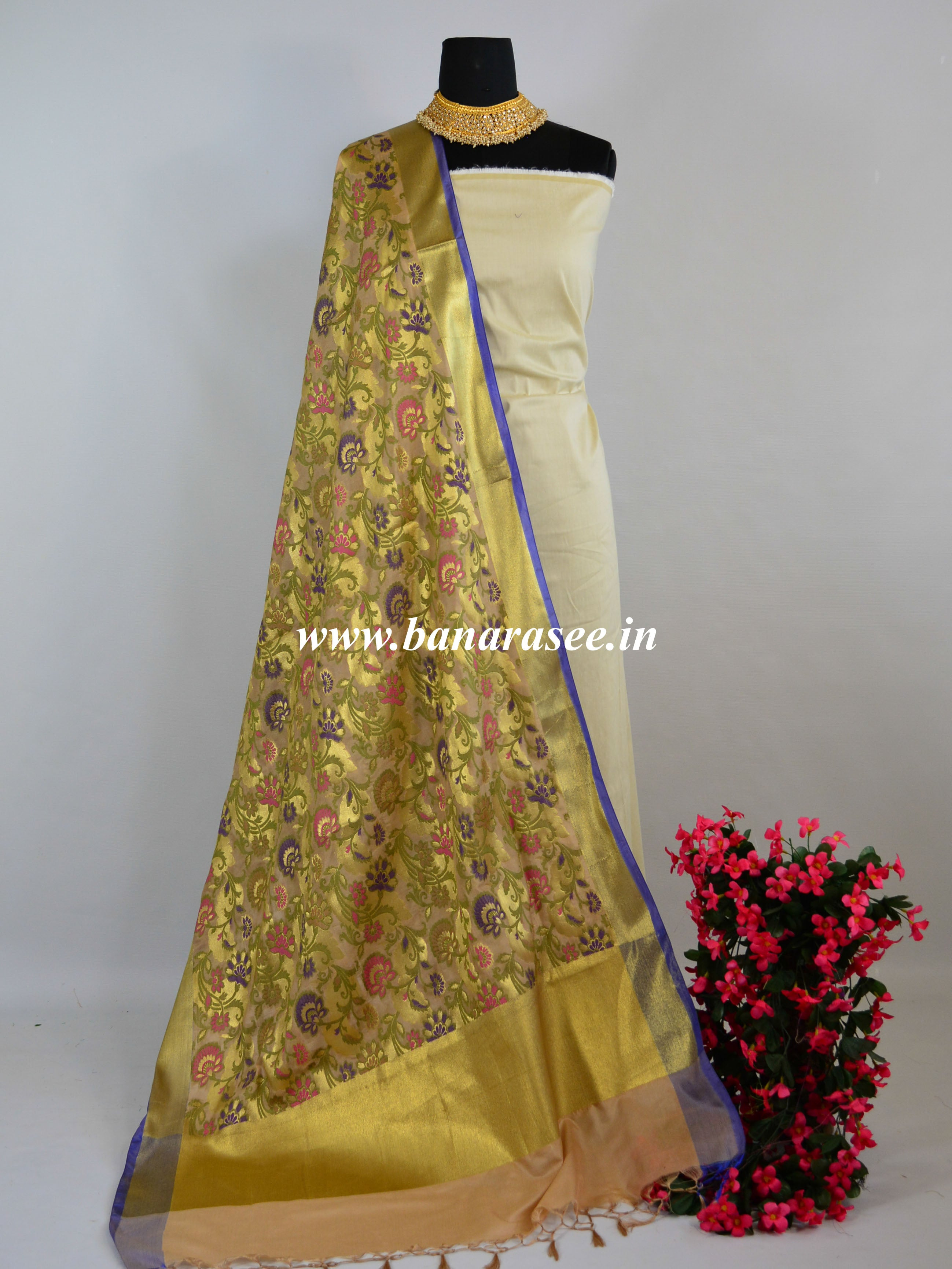 Banarasee Art Silk Dupatta With Meena Work Jaal Design-Beige