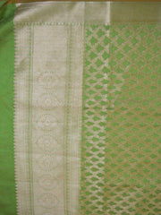 Banarasee Art Silk Dupatta With Gold Zari Jaal Design-Green
