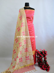 Banarasee Chanderi Cotton Salwar Kameez Fabric With Contrast Dupatta-Peach