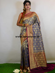 Banarasee Handwoven Semi-Katan Silk Zari Jaal Saree-Deep Blue