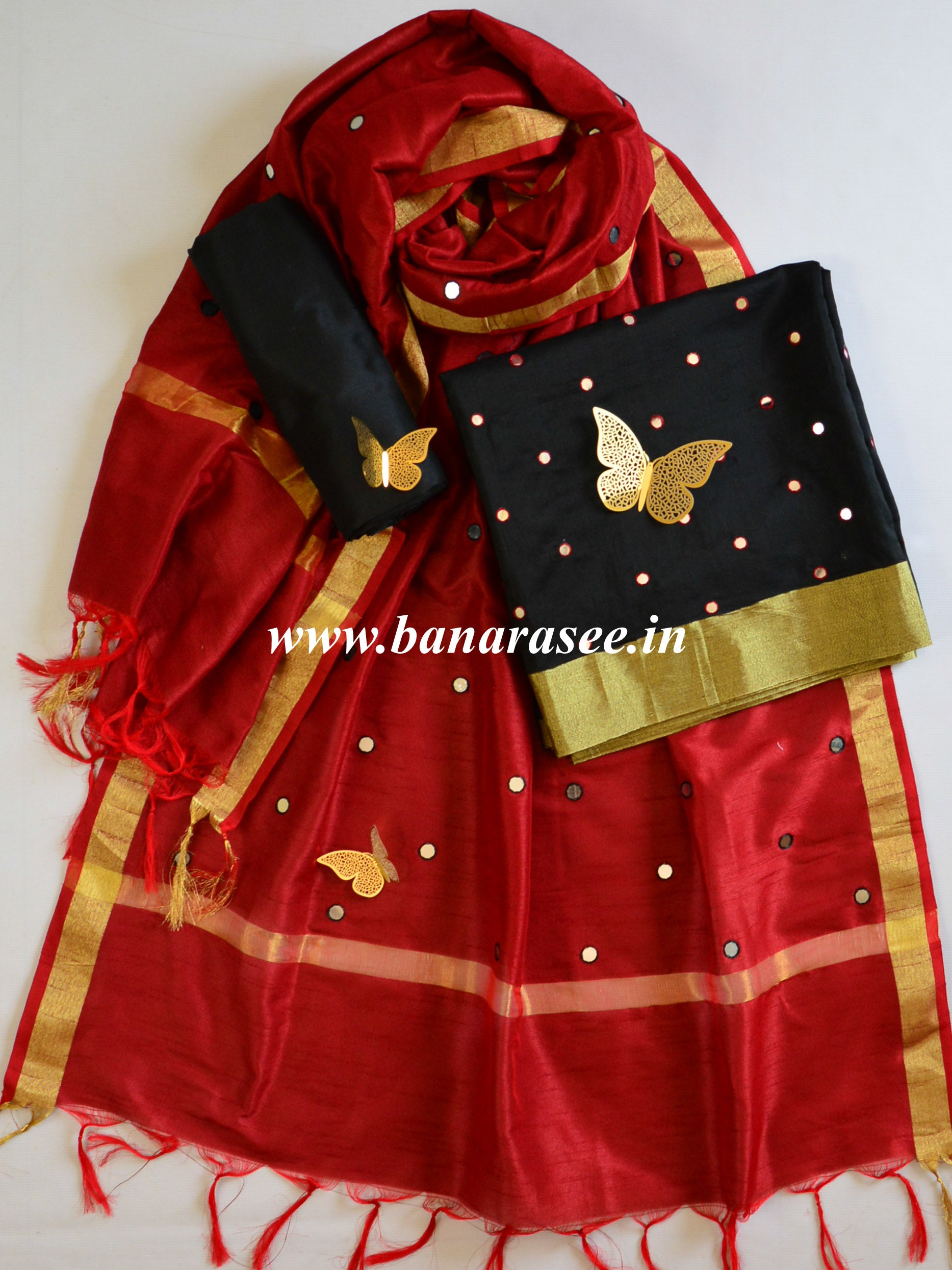 Banarasee Chanderi Cotton Mirror Work Salwar Kameez Dupatta Set-Black & Maroon